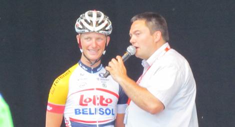 Gert Dockx op het podium in Herentals